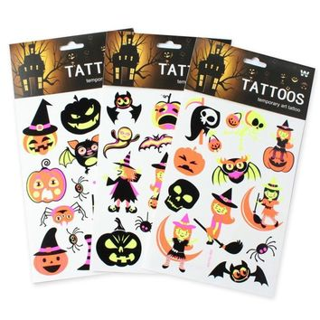 1 Sheet Luminous Temporary Tattoos Sticker Fluorescent Body Art Sleeve Tattoo Decals Halloween Decoration Event Party Supplies