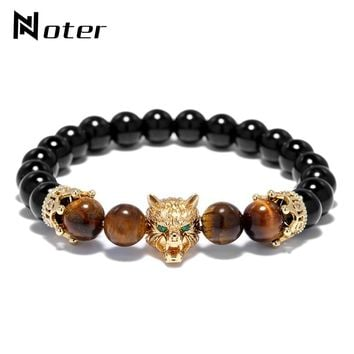 Noter Punk Gothic Wolf Bracelet Luxury CZ Crown Animal Head Mens Braclet For Male Boy Cool Biker Hand Jewelry Homme
