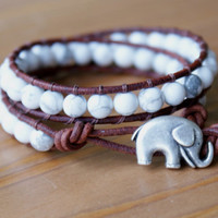 Howlite Beaded leather wrap bracelet, double, Good Luck, silver elephant, good luck jewelry, white, gift idea, Boho chic, gemstone, hipster