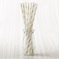 Gray Striped and Polka Dot Paper Straws (Set of 25)