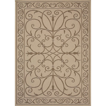 Jaipur Rugs IndoorOutdoor Arts And Crafts Pattern Taupe/Brown Polypropylene Area Rug BRZ07 (Rectangle)