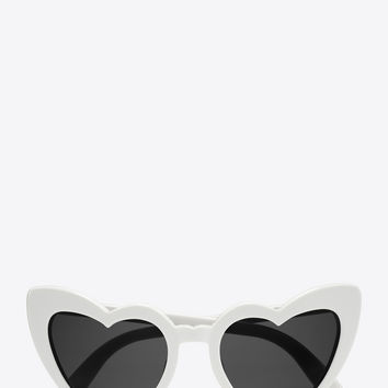NEW WAVE 181 LOULOU Sunglasses in Shiny Ivory Acetate with Grey Nylon Lenses
