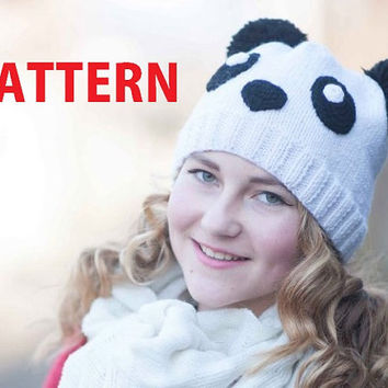 Panda girl hat-PATTERN-knitted teen girl beanie PDF Tutorial-knitting pattern-animal hat-instant download-patterns-Knit hat pattern for girl