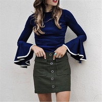 Shirt Winter Sexy Slim Tops Ruffle Loudspeaker Women's Fashion Bottoming Shirt [9476043716]