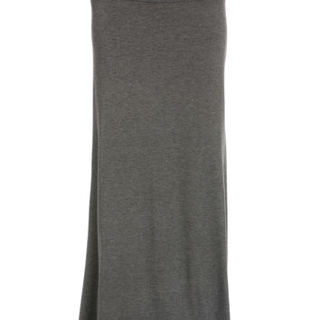 Fold Over Two-Way Maxi Skirt Charcoal