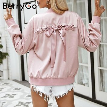 Trendy BerryGo Elegant lace up basic jacket coat Women pink satin pocket biker jacket outwear Autumn winter casual zipper bomber jacket AT_94_13