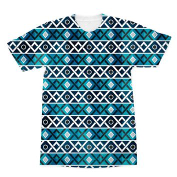 Blue and Teal Diamond Pattern American Apparel Sublimation T-Shirt