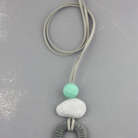 Grey teal pendant necklace, geometric, pebble shapes, playful polymer clay jewelry