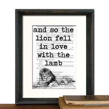 Twilight Book Page Print - The Lion Fell In Love With The Lamb - Beautifully Matted Gift Present Home Office Decor