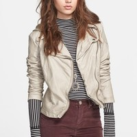 Women's Free People Hooded Faux Leather Moto Jacket