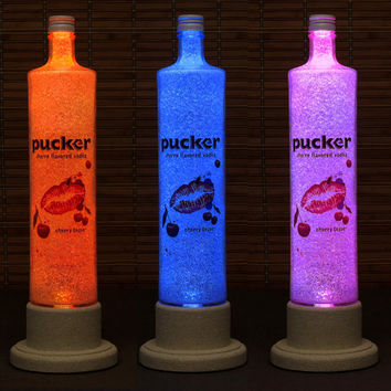 Pucker Cherry Tease Vodka Color Changing LED Remote Controlled Eco Friendly rgb LED Bottle Lamp/Party Light USA Vodka -Bodacious Bottles-