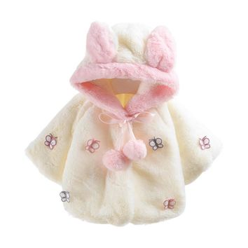 Fashion Baby Infant Butterfly Autumn Winter Hooded Coat Cloak Jacket Thick Warm Clothes For Baby Clothing Baby Wear