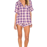 Plush Ultra Soft Plaid PJ Set in Red & Blue | REVOLVE
