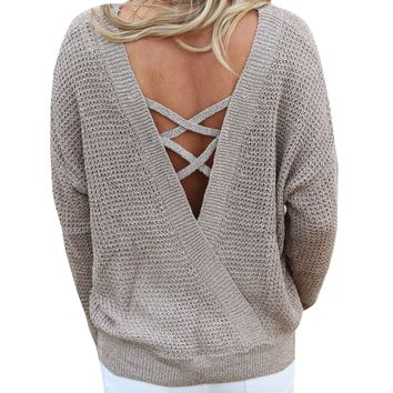 LaceUp Sweater with Twist Back
