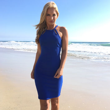 Sparks Fly Bodycon Dress In Royal Blue
