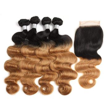 Human Indian Remy Body Wave Hair Ombre Blonde Color
