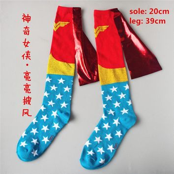 Deadpool Dead pool Taco Men Women Batman Wonder Woman Costume Stockings Adult Knee-High Cotton Calf Socks Football Basketball Sports Socks 7Styles AT_70_6
