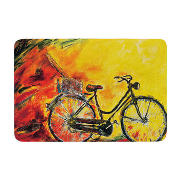 "Josh Serafin ""To Go"" Yellow Bicycle Memory Foam Bath Mat"