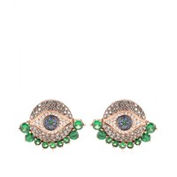 ileana makri - dawn 18kt rose gold stud earrings with diamonds, tsavorites and sapphires