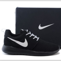 Nike roshe run couple light sports leisure net surface breathable Olympic running shoes Black white hook