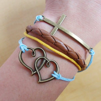 jewelry bracelet infinity bracelet antique bronze karma bracelet heart to heart bracelet women bracelet leather woven bracelet  SH-0632