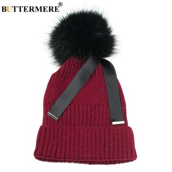BUTTERMERE Brand Burgundy Knitted Hats With Fur Pom Pom Casual Ribbon Winter Hats Thick 2017 Fashionable Designer Hats Bonnet