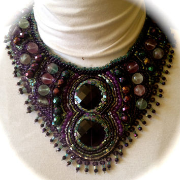 PEACE- Fabulous  Bead Embroidered Bib, Purple Glass Crystals, Fluorite Beads,Preciosa Crystals, Purple and Teal Seed Beads