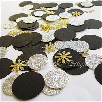 Party Confetti, Glitter, Gold Silver And Black, Table Scatter, Wedding Decoration, Shower Supplies, New Years Eve, Birthday Party, 150 Piece