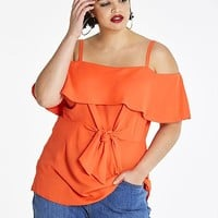 Tie Front Bardot Top | Simply Be USA