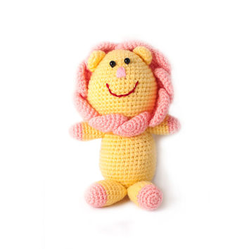 Yellow Lion Handmade Amigurumi Stuffed Toy Knit Crochet Doll VAC