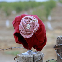 Vegan Burgundy Cotton Hatfor Baby with Shabby Chic Flower Size 0 to 12 Months- Hat - Beanie - Beret - Photo Prop - Upcycle - OOAK