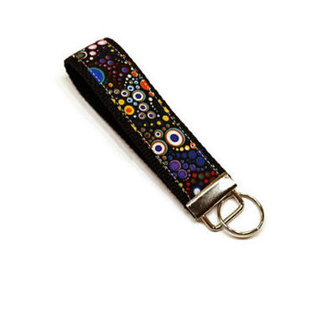 Bright circles fabric wrist key fob, key chain wristlet. Personalized. Under 10 gift for her.