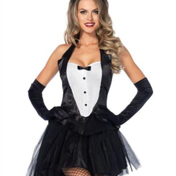 ONETOW 3PC.Tux & Tails Bunny tuxedo top tutu skirt w/tail ear headband in BLACK/WHITE