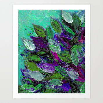BLOOMING BEAUTIFUL 1 - Floral Painting Mint Green Seafoam Purple White Leaves Petals Summer Flowers Art Print by EbiEmporium