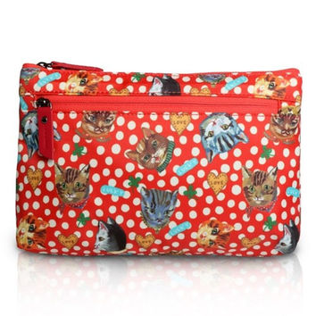 Nathalie Lete Flat Pouch - Dot and Cats Red