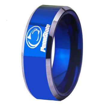 Blue With Shiny Edges Penn state Design Mens Tungsten Ring