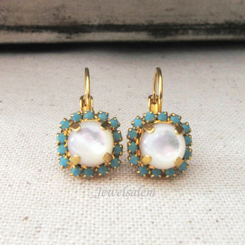 Pearl Earrings Gold Dangling Earrings Mother of Pearl Drop with Turquoise Rhinestones Regal Victorian Vintage Style Modern Victorian