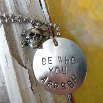 Silver Pirate Necklace Be Who You Arrrgh by SugarandSoySauce