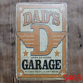 DAD'S Garage Metal Painting Tin Sign Wall Decor Board Retro Pub & Bar Tin Poster 8x12 Inches