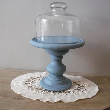 upcycled Vintage Glass Dome Server ... Wedding pedestal server ... cupcake stand ... French Duck Egg Blue Display cloche