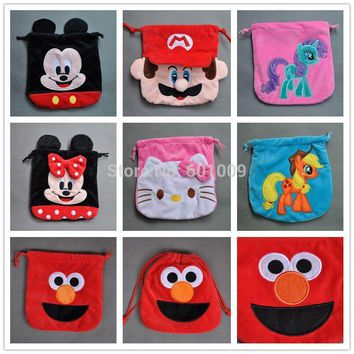 "Mario, Sesame Street, Mouse,Hello Kitty Birthday Party Favor Candy Drawstring Bag 8"" PCXB"