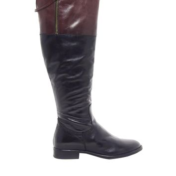 Dune Tinteds Contrast Black Leather Knee High Boots