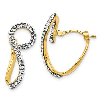 9 x 24mm 14k Yellow Gold with Swarovski Crystals Twisted Hoop Earrings