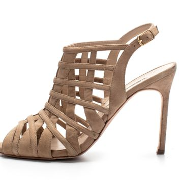 ca spbest Manolo Blahnik Natural Dance Suede Cage High-Heel Sandals Sz 39