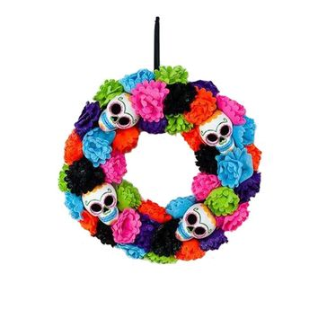 """180 Degrees Colorful Day of the Dead Sugar Skulls 17""""  Wreath"""