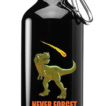 Hat Shark Dinosaur Never Forget Asteroid & Tyrannosaurus Rex Humor 3D Color Printed 17 oz Stainless Steel Water Bottle Black