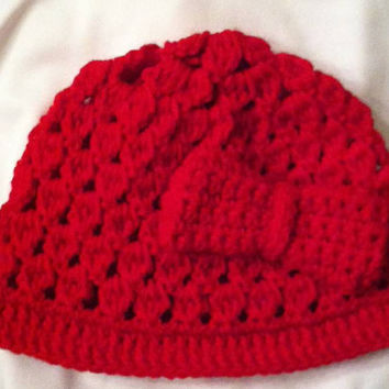 Cozy Child Red Shell Crochet Beanie With Bow