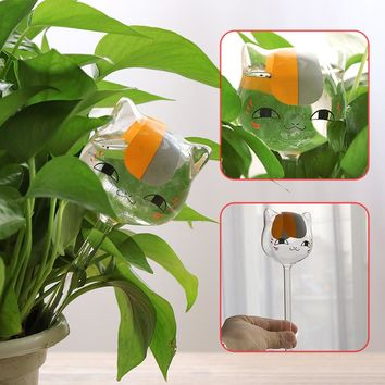 Clear Cat Shaped Glass Plant Flower Holiday Watering Water Feeder Home