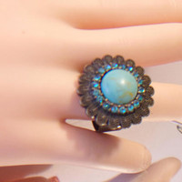 Floral Turquoise Adjustable Ring Blue Flower Fashion Accessories For Her