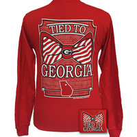 New Georgia Bulldogs Tied To Georgia Big Prep Bow Long Sleeve T Shirt